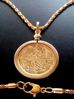 The Sower - Large Authentic French 20 Euro Cent Coin Pendant Charm Necklace Map