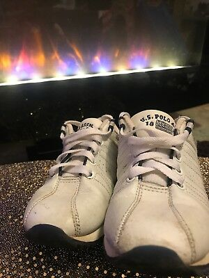 U.S. Polo Assn Unisex Tennis Athletic Sneakers shoes White Leather size Child 13