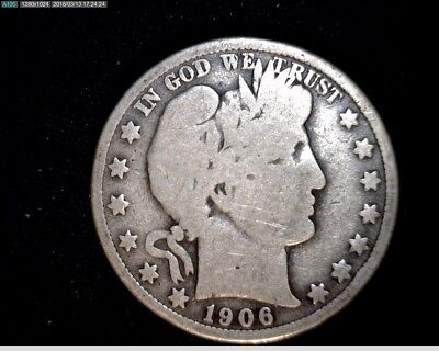 1906 D  Silver Barber Half Dollar  Circulated #1X537