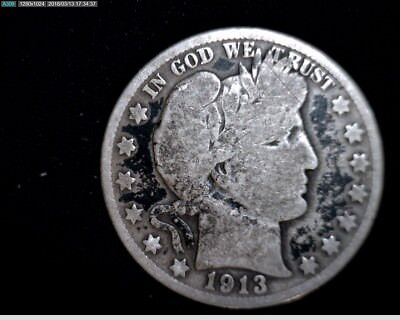 1913 D  Silver Barber Half Dollar  Circulated #1X556
