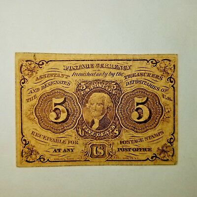 5 Five Cent Fractional Currency Note First Issue Thomas Jefferson