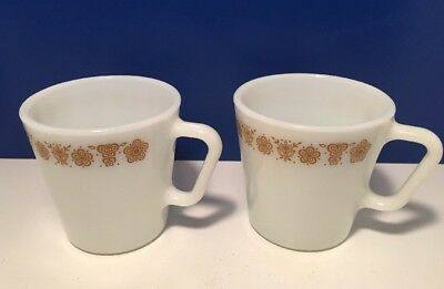 Vintage PYREX BUTTERFLY GOLD Mugs D Handle White Milk Glass 1410 Set of 2