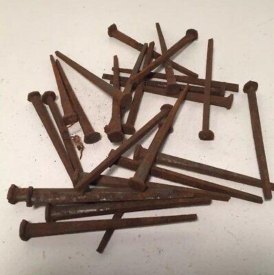"25 Vintage Square Nails - 3"" Long - Original - 1800's Rusty"
