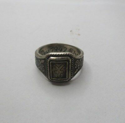 Silver Ring German Panzer Div WW2 marked Battle Charkow