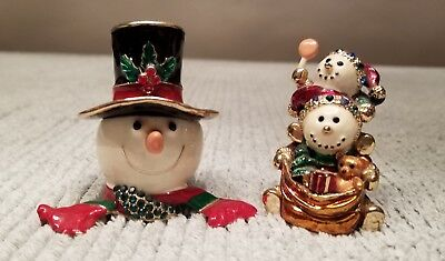 Snowman Trinket Pill Box Keepsake Snowmen Set of 2 Holiday Christmas Rhinestone