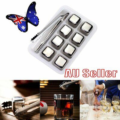 8x Stainless Steel Whiskey Stone Ice Cubes Glacier Chiller Drink Reuseble NW