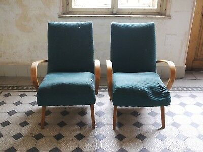 Pair of art deco lounge chairs Jindrich Halabala in need of reupholstery