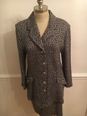 St. John Collection by Marie Gray Silver/Gray 2 Piece Suit 12/14