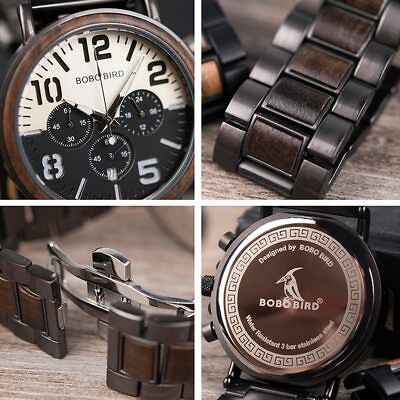 ⌚⏱️ Bobo Bird Wooden Watch Official Luxury Wood Mens Gift Engrave Birthday New