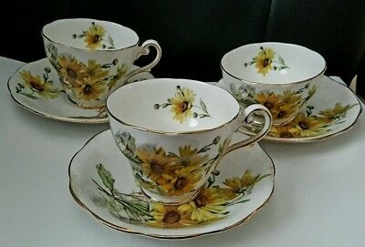 Brown Eyed Susan 6 Items (2) Cups, (3) Saucer & (1) Bowl, Royal Standard,England
