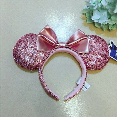 NEW Disney Parks Rose Gold Minnie Mouse Ears  Headband Bow Christmas Holiday