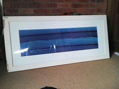 #eBay MARKET# VERY LARGE Printed FABRIC ARTWORK in Distressed WHITE Timber Frame