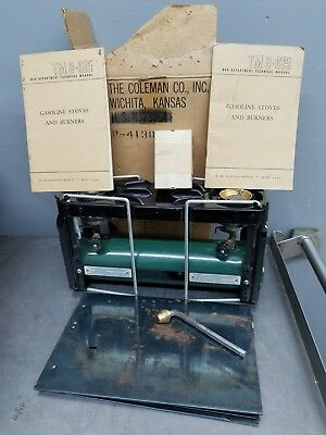 WWII War Coleman US Military Vtg Medical Stove # 523 w/ Box Book Parts