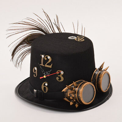 1pc Women Steampunk Gear Spike Goggle Feather Clock Top Hat Victorian Punk Hat