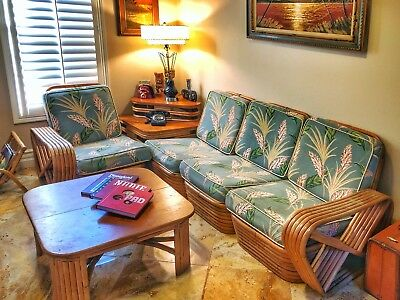 MID CENTURY VINTAGE RATTAN SOFA/COUCH 1950's. SIX BAND PAUL FRANKL STYLE SECTION