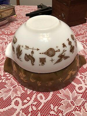 2 Vintage Pyrex Rooster Mixing Nesting Bowl Set 443 444 Brown White Gold