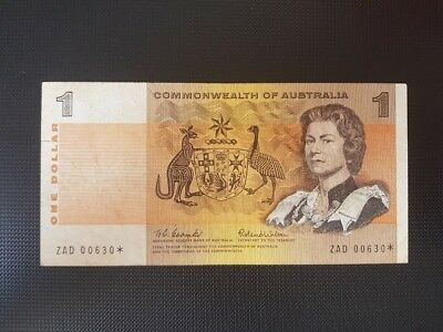 Rare 1966 Coombs Wilson $1 star note - very low serial number, VF condition