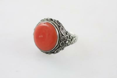 Vintage Chinese Sterling Silver Filigree Natural Coral Inlaid Ring