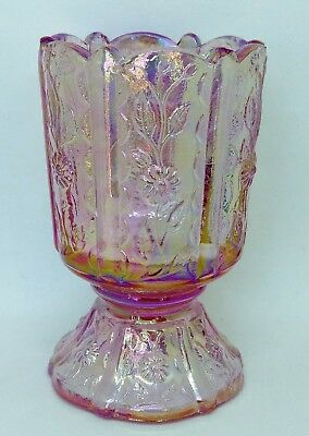 Collectable Fenton Iridescent Pink Glass Egg Cup Panelled Cameo