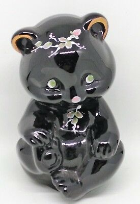Collectable Fenton Glass Black Sitting Bear Paperweight Hand Painted