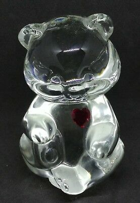 Collectable Fenton Clear Glass Sitting Birthday Bear July