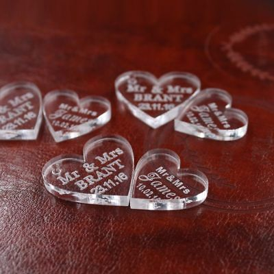 Customized Crystal Heart MR  MRS Love Heart Wedding Souvenirs Table Decoration