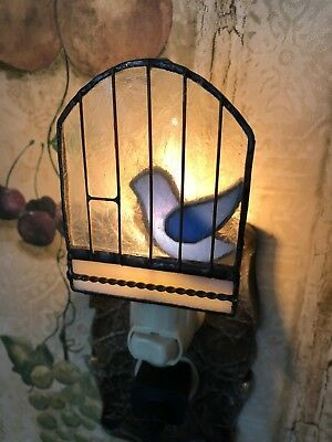 Blue Bird in a cage Night Light,Stained Glass, Plug in,Handmade,Bedroom bathroom