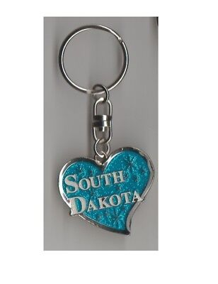 Travel Souvenir Key Chain Light Blue South Dakota Heart Glitter