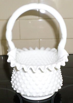 Lovely Large Vintage Fenton Glass Basket~Hobnail White Milk Glass~Ruffled Edges