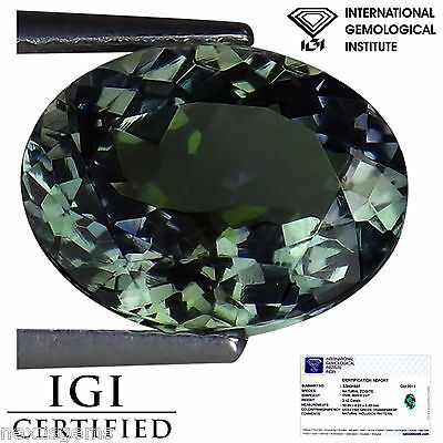 3.42 Ct IGI Certified A+ Natural D Block  Tanzanite Violet Green Color Oval Cut