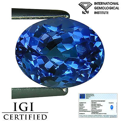 1.62 Ct IGI Certified A+ Natural D Block Tanzanite Blue Violet Color Oval Cut
