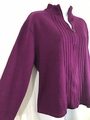 Ladies Purple Zip Up Cardigan Size 18 Casual Winter Cosy Funnel Stand Up Collar