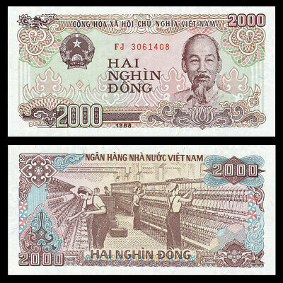 LOT 1000 PCS,Vietnam 2000 DONG paper money,1988 edition,Rare commemorative coin