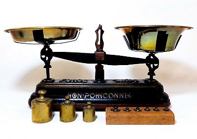 Late 19Th C Antique French 'Non Poinconnee' 1Kg Cast Iron & Brass Merchant Scale