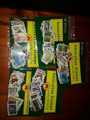 Australian Bulk Lot Of 50 Stamps depicting Australia Flora and Fauna.
