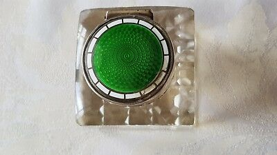 Antique Sterling Silver, Enamel & Glass Inkwell By Levi & Salaman Chester 1908.