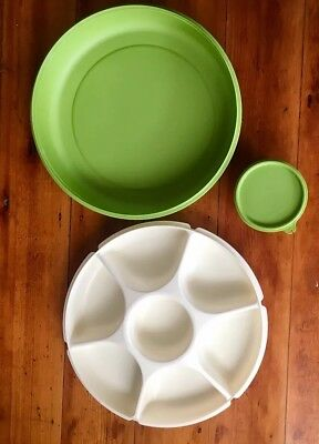Vintage Tupperware Party Dip/Chip Dividing Serving Tray In Cream/green