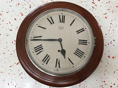 Antique Mahogany Smiths Enfield Station/office Wall Clock