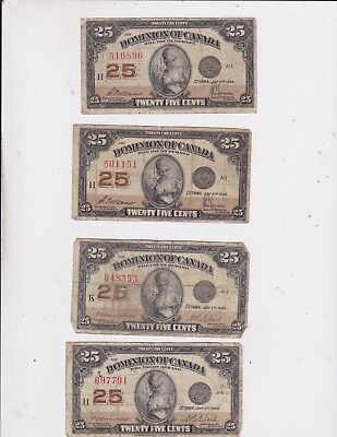 1923 Dominion Of Canada 25 Cents Bank Note Lot Of 4