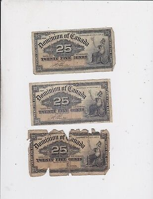 1900 Dominion Of Canada 25 Cents Bank Note Lot Of 3