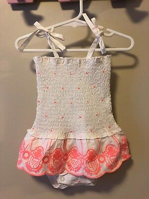 BRAND NEW Baby Girl 6-12 mths Seed Romper White & Watermelon 100% Cotton