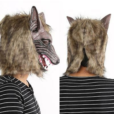 Werwolf Halloween Maske Big Bad Wolf Latex Kopf Wolf Mask Kostüm Accessoire KS