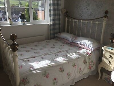 Ivory & Brass Double Bed Frame  (headboard & Footboard ) Beautiful Vintage Style