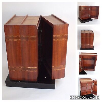 Antique Vintage Wooden Smokers Pipe Cabinet Faux Book Form Box Stand Tobacco
