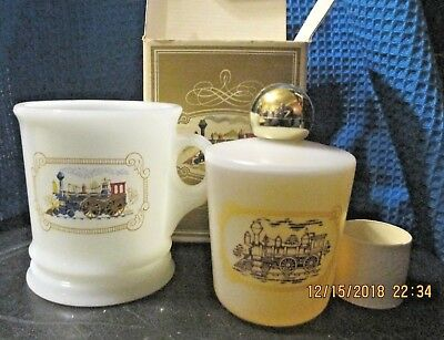 Vintage Avon Milk Glass Iron Horse Shaving mug~Train~ Railroad~Decorative