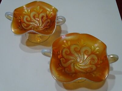 2x Vintage Carnival Glass Marigold - Question Mark - Two Handled Bonbons