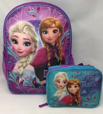 Frozen Anna Elsa Back to School Book Bag Backpack Detachable Matching Lunch Box