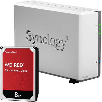 Synology DS119j 1-BAY DiskStation Assembled with a 8TB Western Digital NAS Drive