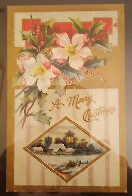 1900s Antique Postcard Holiday Christmas Scene Under Glass with Foil Edging