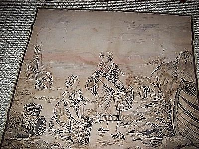 """Antique Tapestry Textile Weaving Fishing Village 48x48"""" Wall Hanging Figures"""